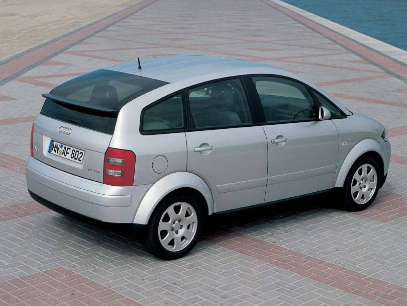 Right side of silver Audi A2 car