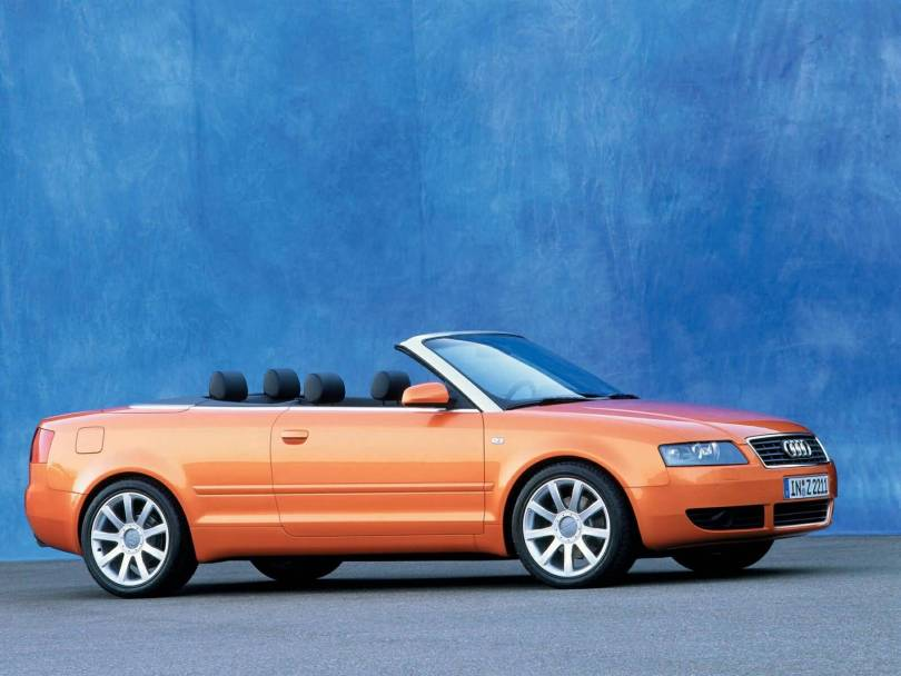 Right side view of beautiful orange colour Audi A4 Cabriolet car