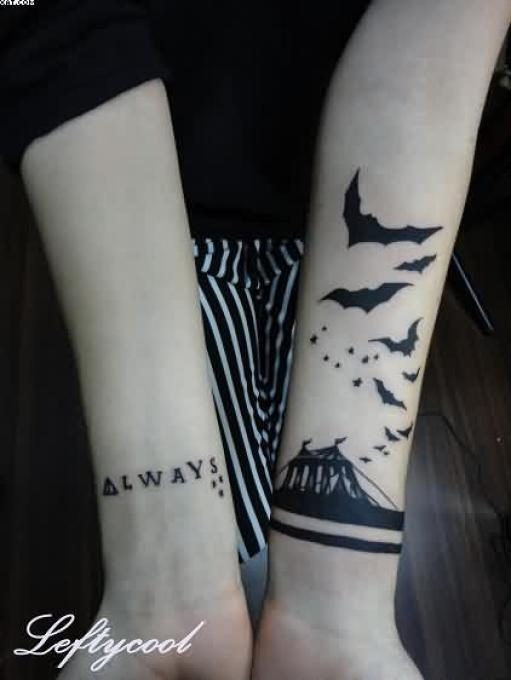 Sensation Black Color Ink Arm Tattoo Design Of Small Bats For Girls