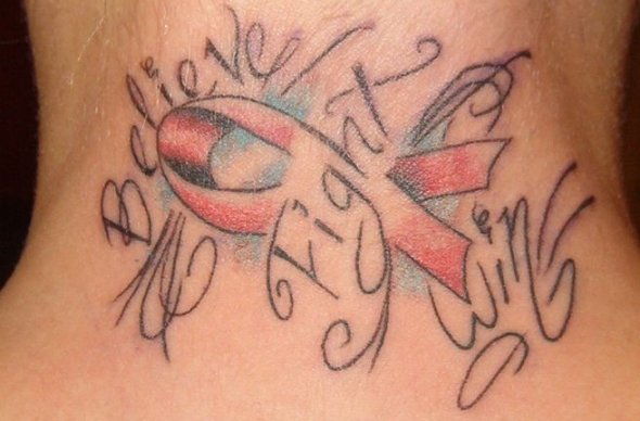 Sensation Blue Black And Red Color Ink Breast Cancer Tattoo Design On Neck For Boys