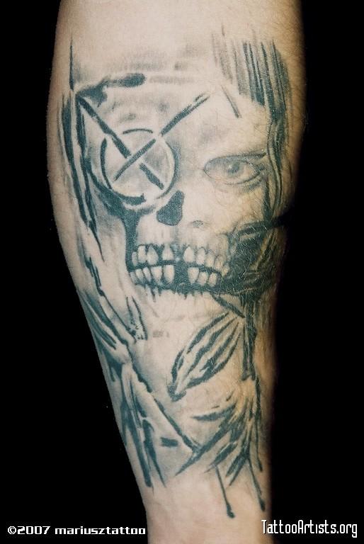 Sensation Grey Color Ink Death Skull Tattoo Design For Boys