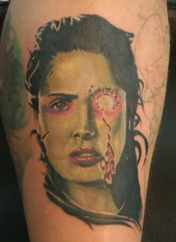 Sexy Salma Hayek Zombie Tattoo With Watermark