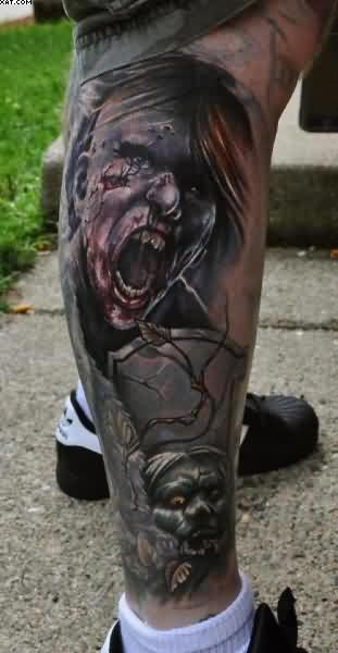 Simple Zombie Tattoos On Leg On Calf