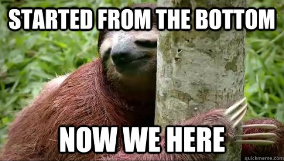 Started from the bottom now we here Funny Sloth Memes q