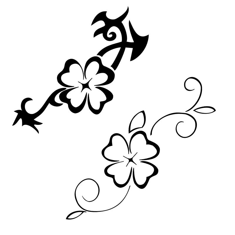 Superb Black Color Ink Four Leaf Clover Tattoo Designs For Girls