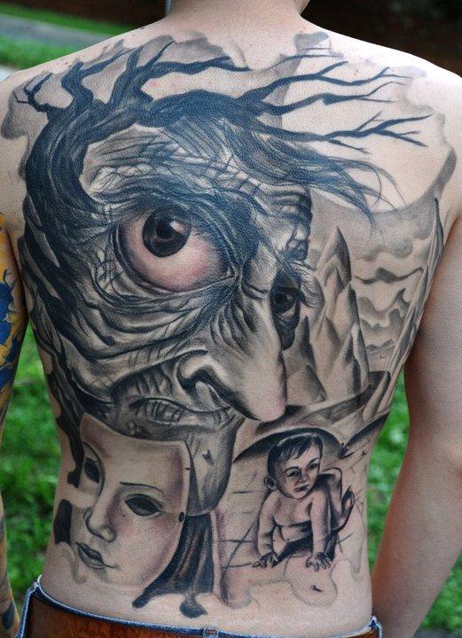 Superb Blue And Black Color Ink Death Face n Kid Tattoo Design On Back Body For Boys