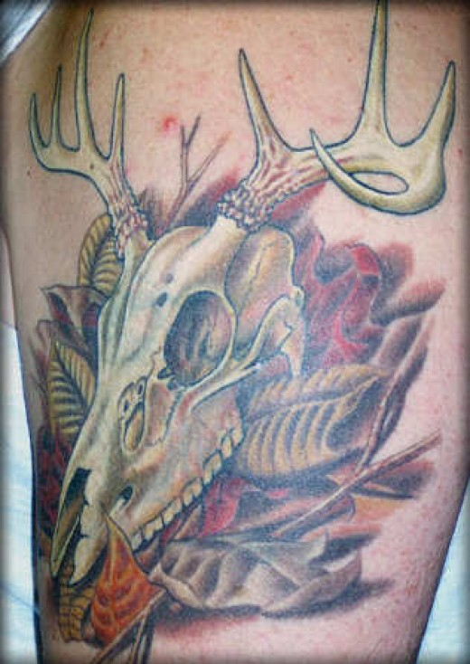 Superb Green Black And Red Color Ink Deer Tattoo Image For Boys