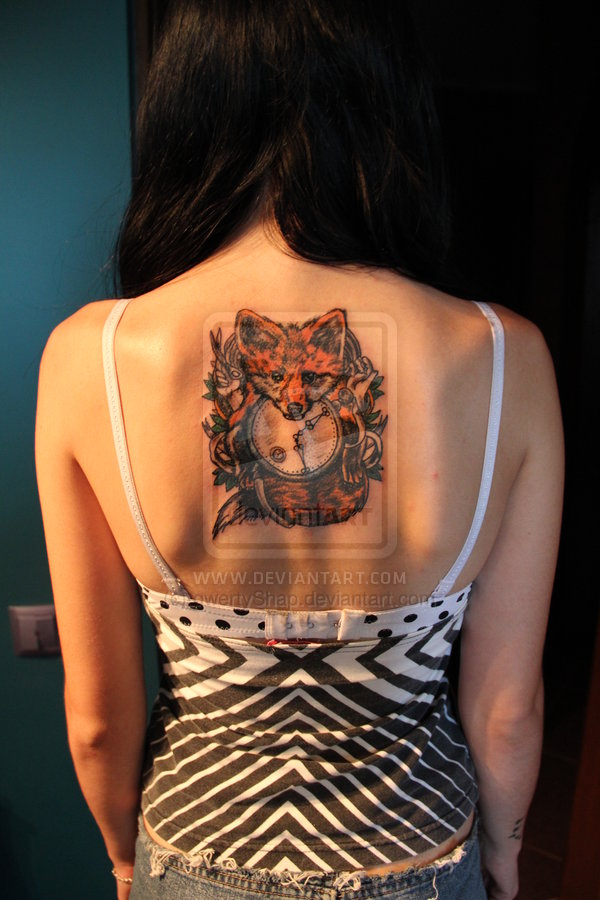 Superb Red And Black Color Ink Fox Clock Tattoo On Upperback For Girls