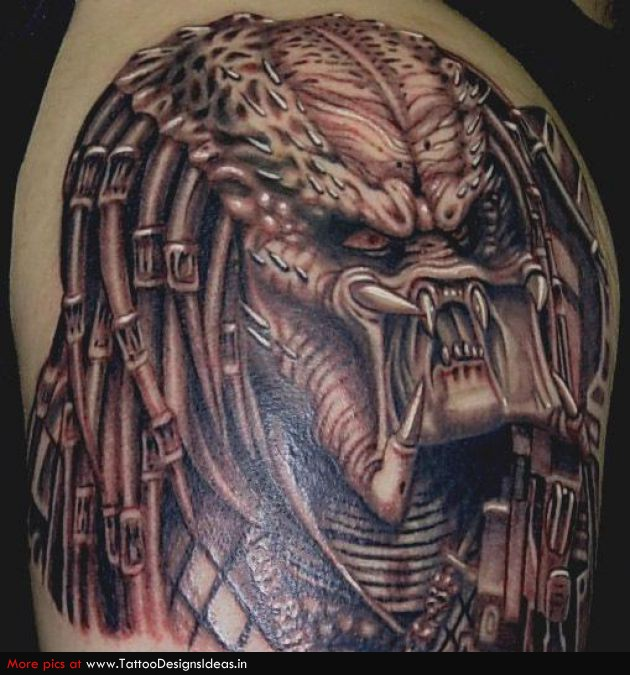 Superb Red Light And Black Grey Color Ink Biomechanical Scary Alien Tattoo For Boys