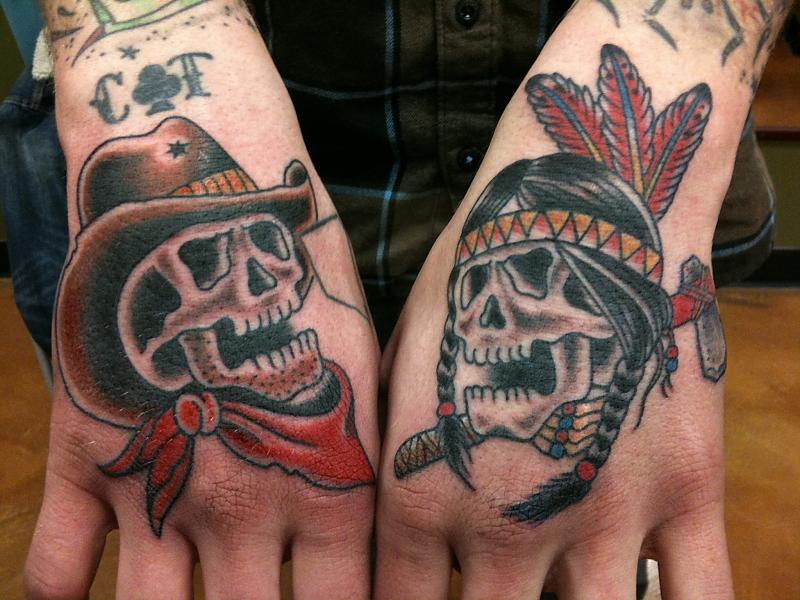 Sweet Black And Red Color Ink Cowboy Skulls Tattoo On Hand For Boys