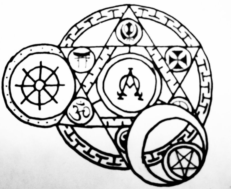 Sweet Black Color Ink Arcane Religious Circle Tattoo Design For Boys