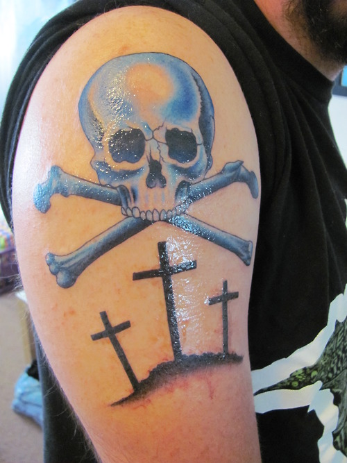 Sweet Blue And Black Color Ink Skull n Cross Tattoo Designs For Boys