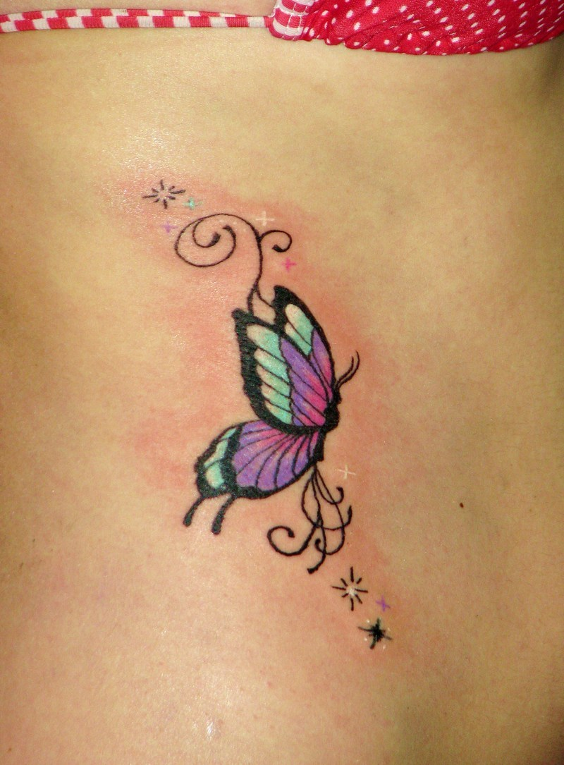 Sweet Blue Black And Red Color Ink Butterfly Tattoo On Rib For Girls