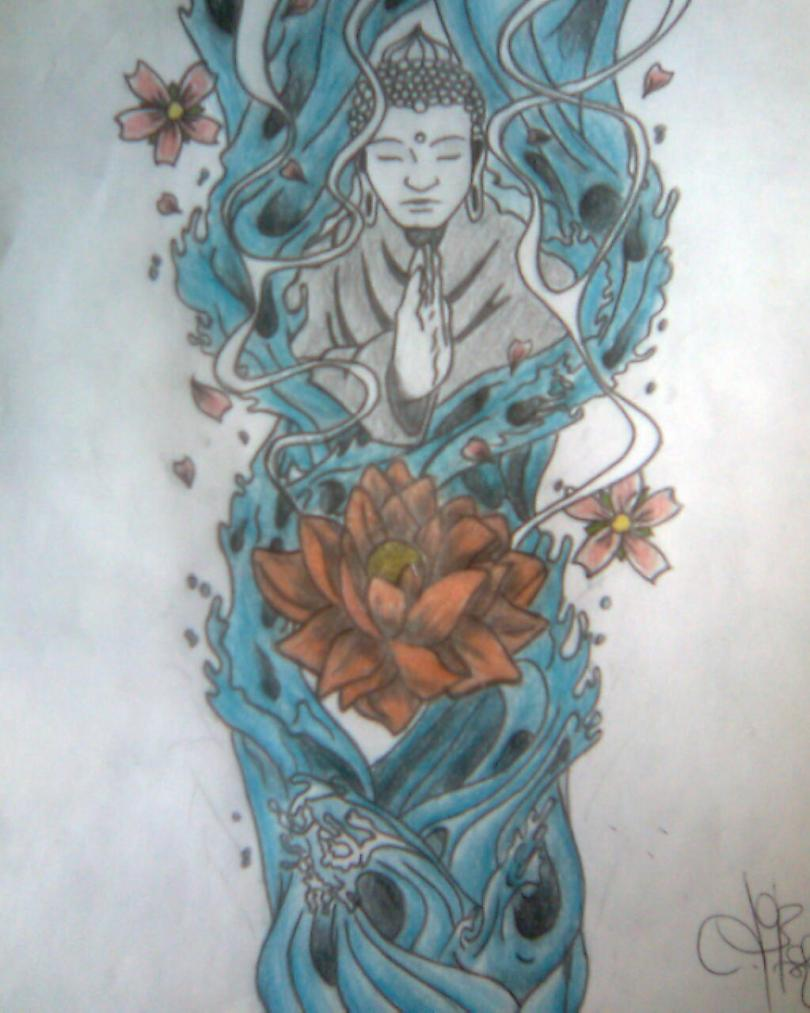 Sweet Blue Black And Red Color Ink Religious Buddhist Tattoo Design For Boys