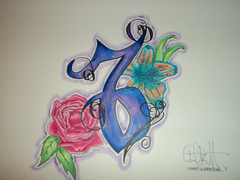 Sweet Blue Red And Black Color Ink Capricorn Sign With Rose Tattoo Design For Girls