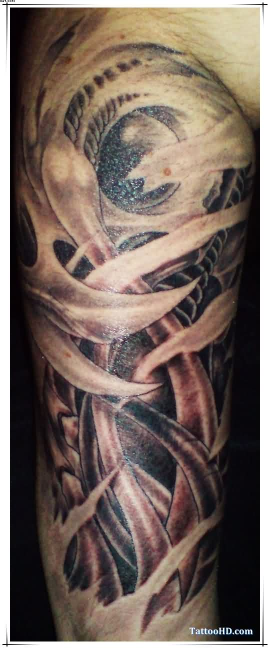Sweet Red Light And Black Color Ink Biomechanical Alien Tattoo For Boys