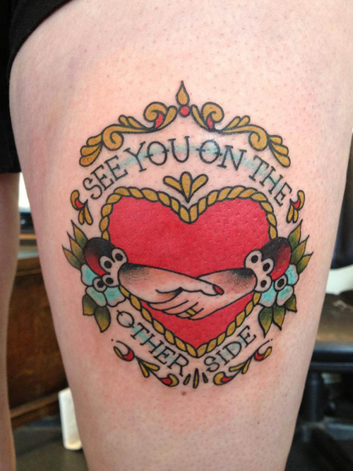 Terrific Red Blue Green Color Ink Claddagh Tattoo On Thigh For Girls
