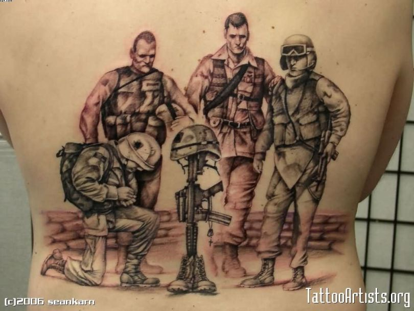 Terrific Black Color Ink Army Men Tattoo Design On Back For Boys