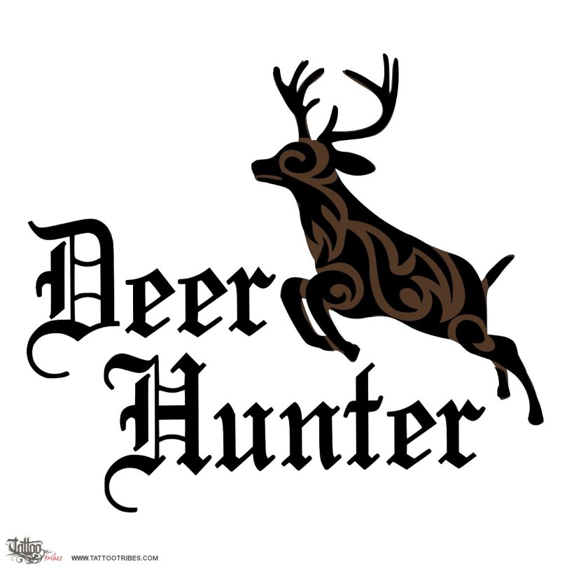 Terrific Black Color Ink Deer Hunter Tattoo Design For Girls