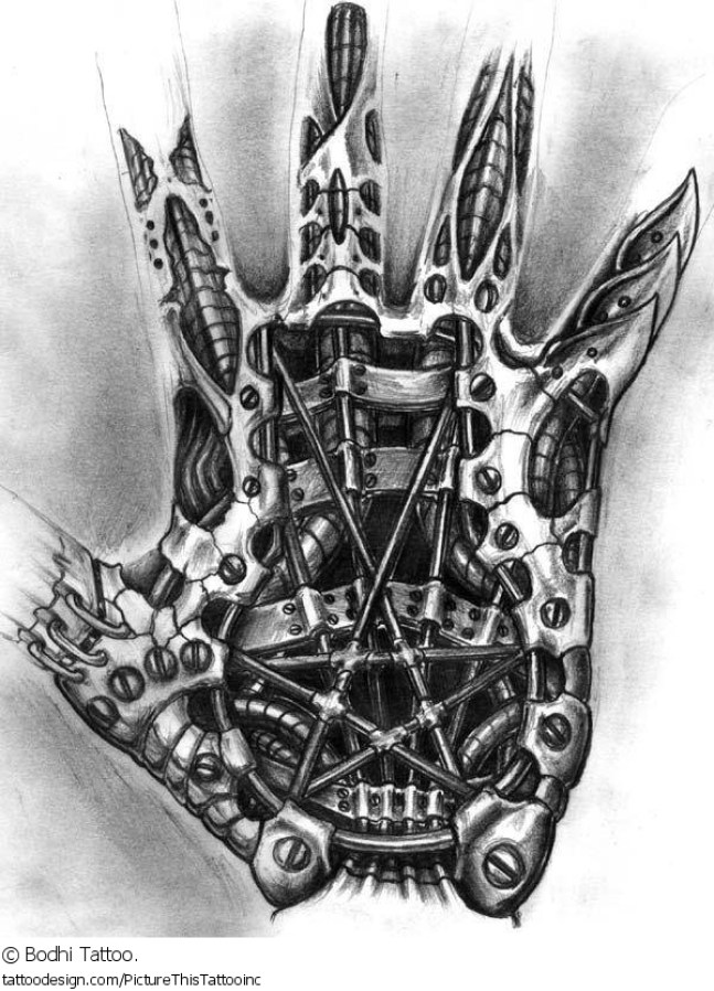 Terrific Grey Color Ink Biomechanical Tattoo Design For Hand For Boys Tattoo