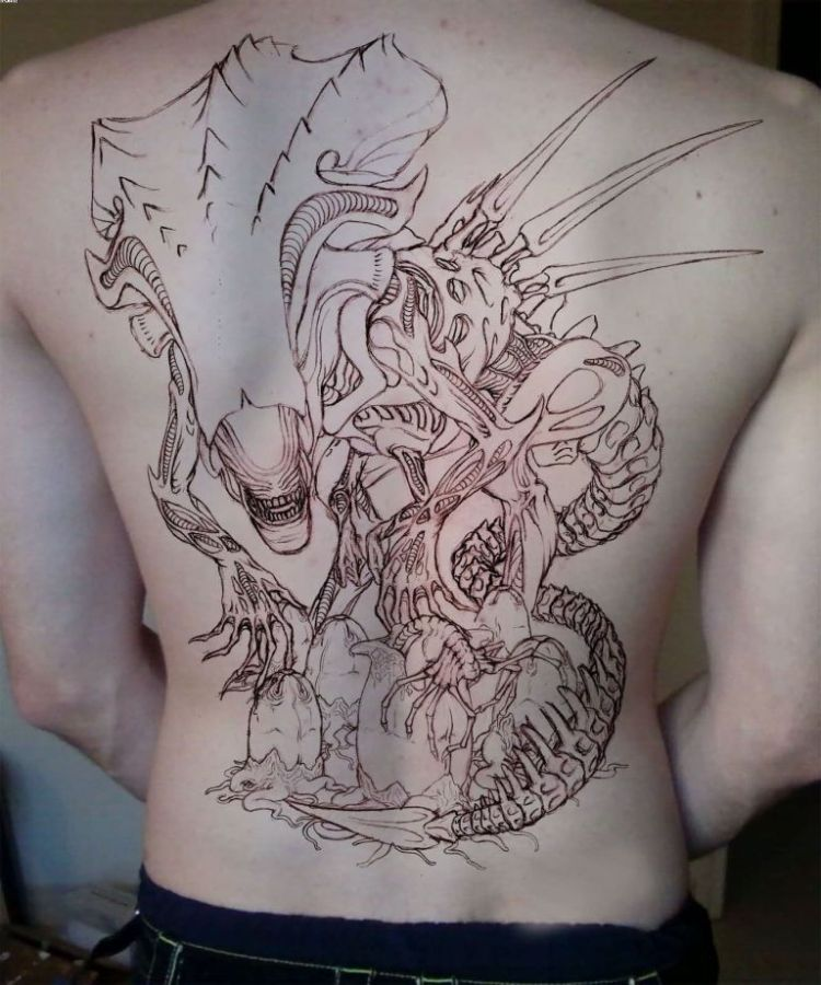 Terrific Red Light Color Ink Big Alien Tattoo On Back For Boys