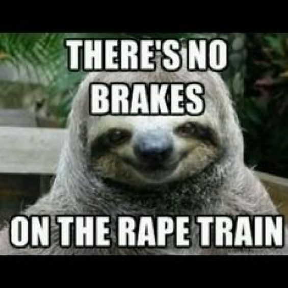 There's no brakes on the rape train Funny Whisper Sloth Meme