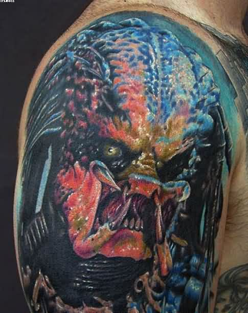 Traditional Blue And Red Color Ink Dangerous Alien Tattoo On Shoulder For Boys