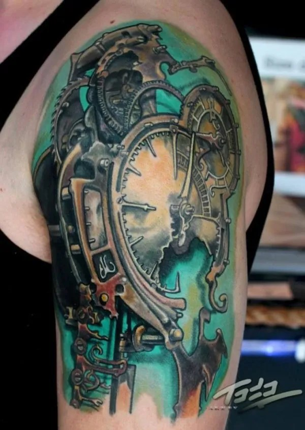 Traditional Green And Black Color Ink Bio mechanical Broken Clock Tattoo On Shoulder For Boys