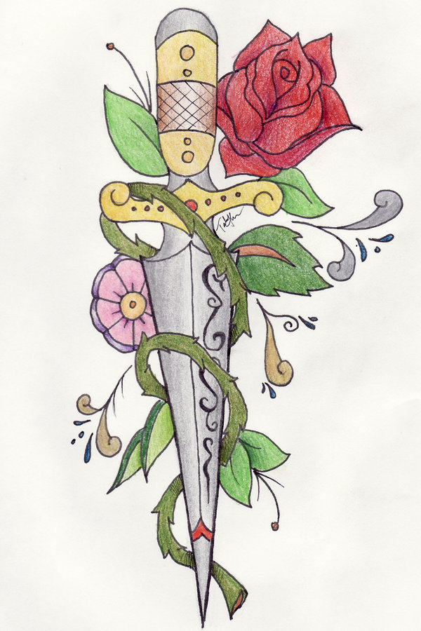 Traditional Green Blue Red And Black Color Ink Dagger n Rose Tattoo Design For Girls
