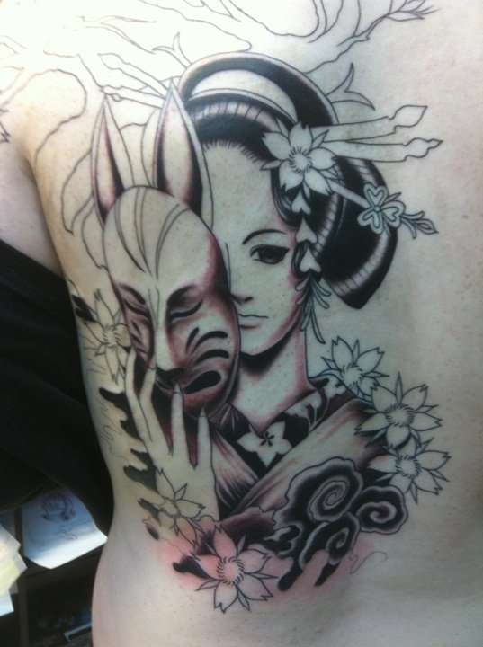Trendy Black And Red Color Ink Asian Anime Geisha Tattoo On Back For Girls