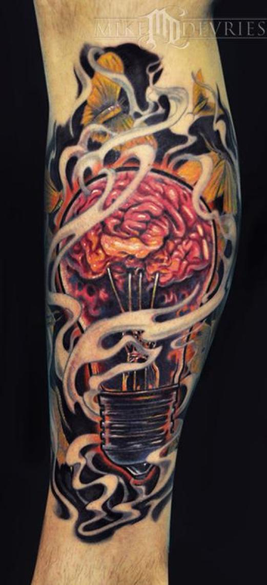 Trendy Yellow White Black And Red Color Ink Light Bulb Tattoo Design On Arm For Boys Copy