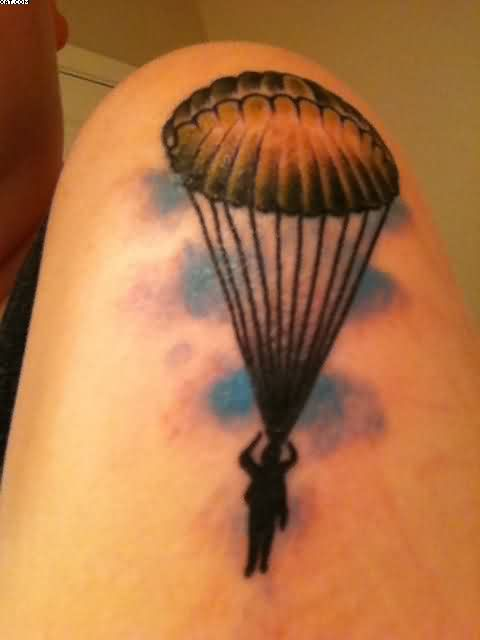 Ultimate Black Blue And Red Color Ink Army Paratrooper Tattoo For Boys On Shoulder