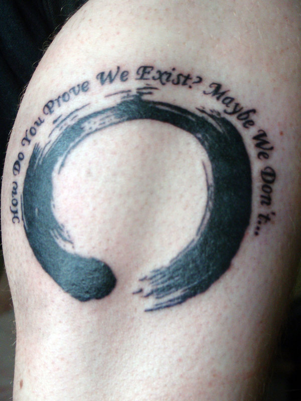 Ultimate Black Color Ink Enso Circle & Quote Tattoo Design For Boys