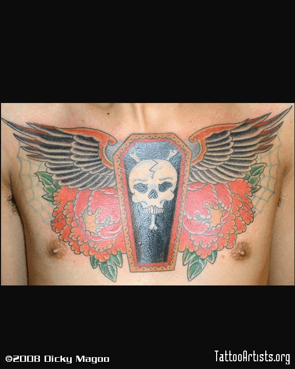 Ultimate Blue Green Black And Red Color Ink Skull Coffin Tattoo On Chest For Boys