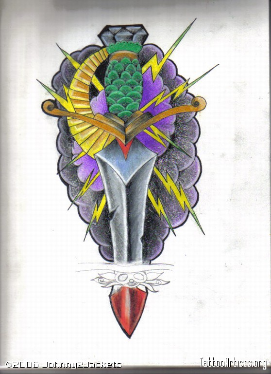 Ultimate Blue Yellow Red And Black Color Ink Dagger Tattoo Drawing For Girls