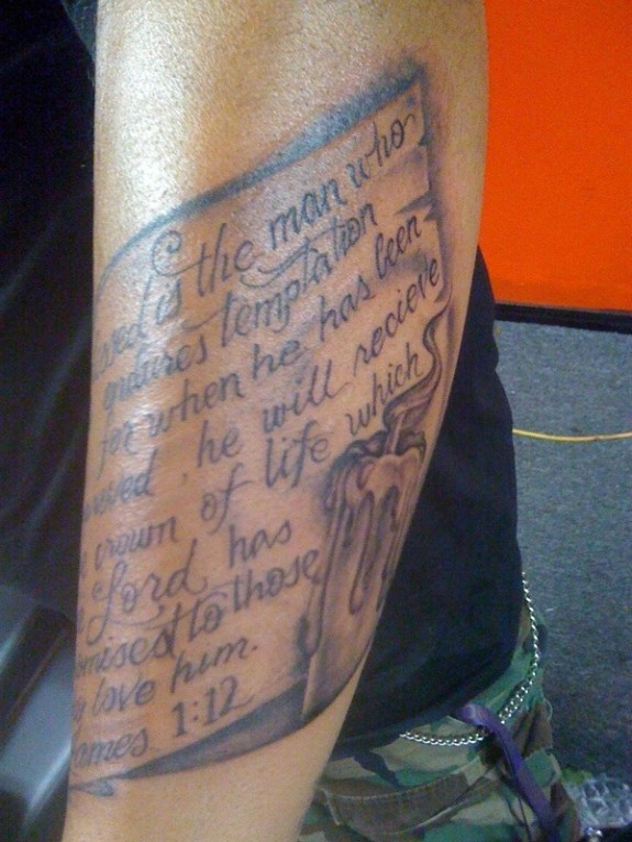 Ultimate Grey Color Ink Scripture With Candle Tattoo On Arm For Boys