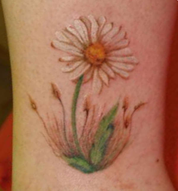 Ultimate White Green And Black Color Ink Daisy Tattoo Design For Boys