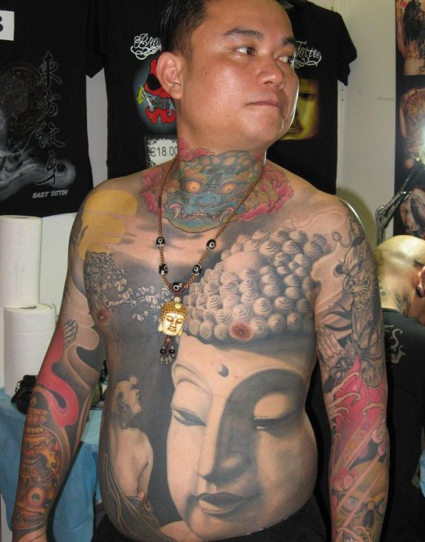 Ultimate Yellow Black And Red Color Ink Big Buddhist Tattoo For Boys On Full Chest