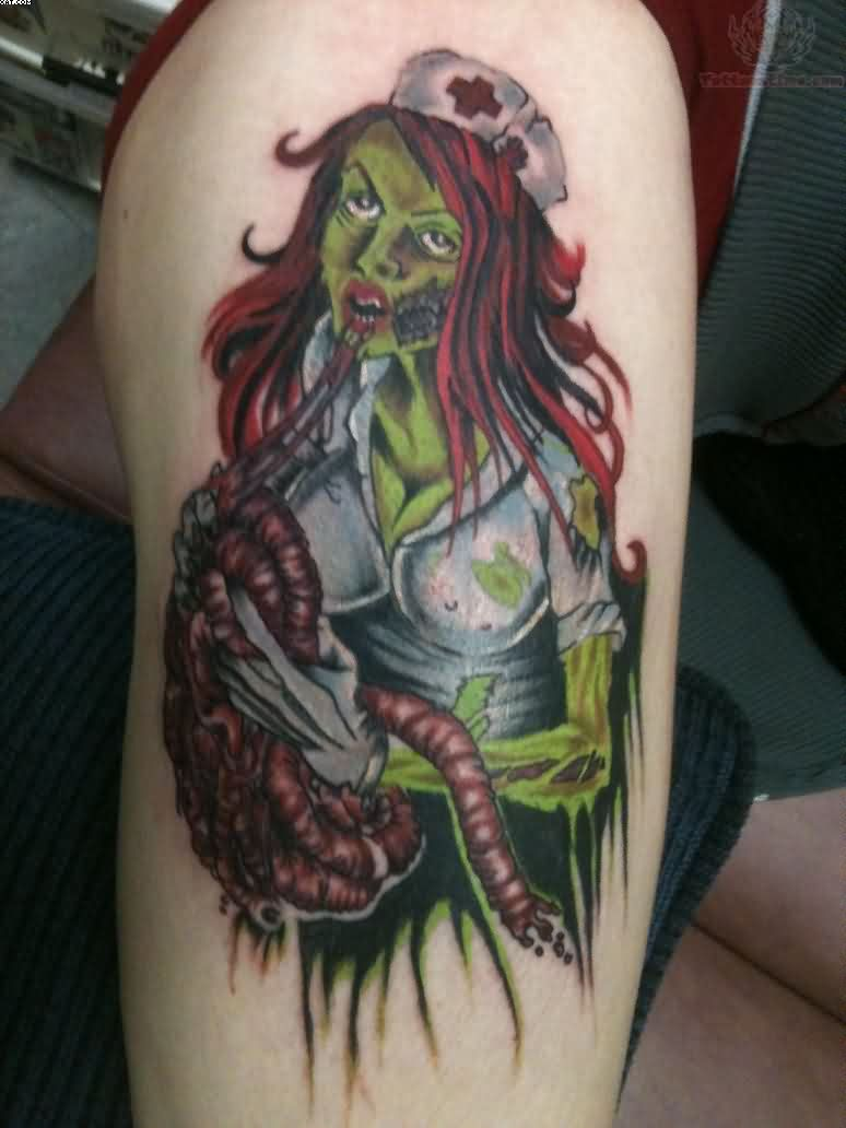 Ultimate Zombie Color Nurse Tattoo On Thigh With Colorful Ink