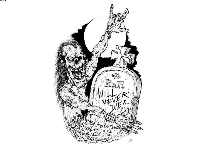 Unique Rocker Zombie Tattoo Designs Black & White