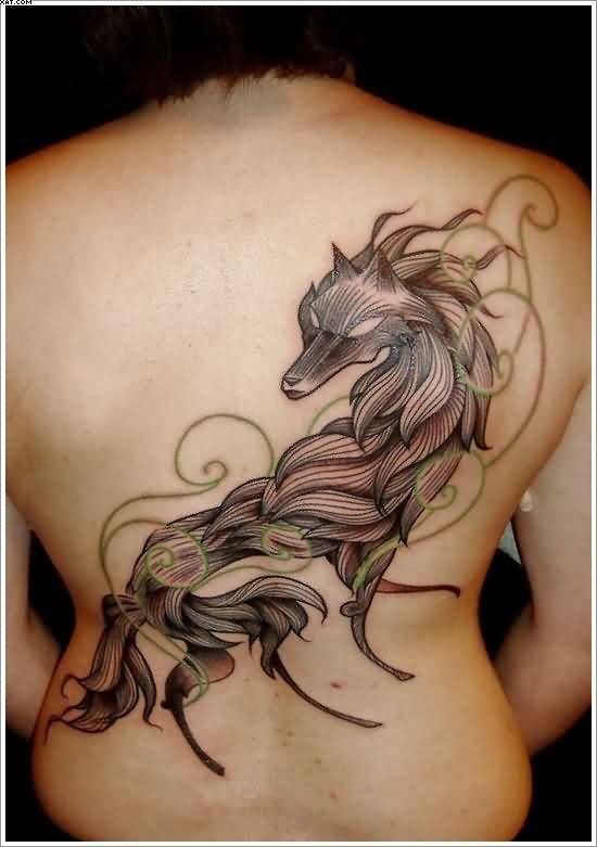 Unique Wolf Tribal Tattoo On Full Back With Rope Design
