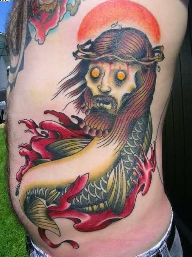 Unique Zombie Jesus Fish Tattoo On Rib Side With Colorful Ink