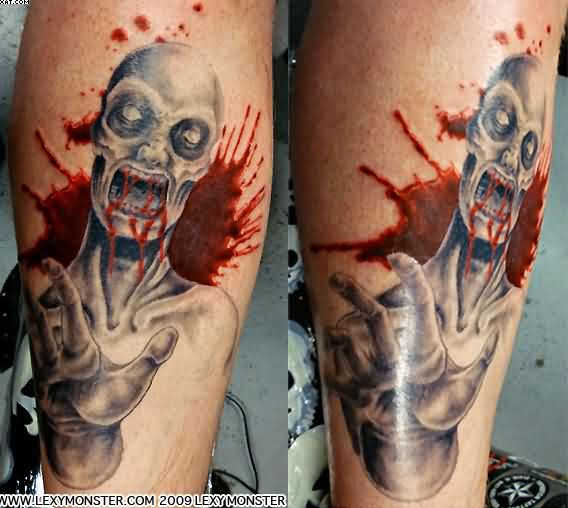 Very Bloody Zombie Tattoos Skulll