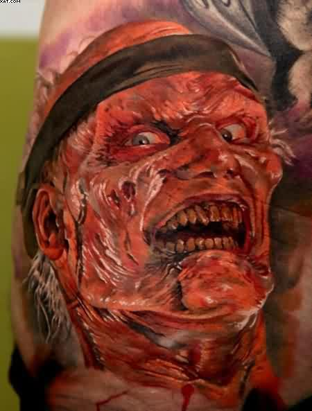Very Fantastic Evil Scary Zombie Face Tattoo Picture With Red Ink