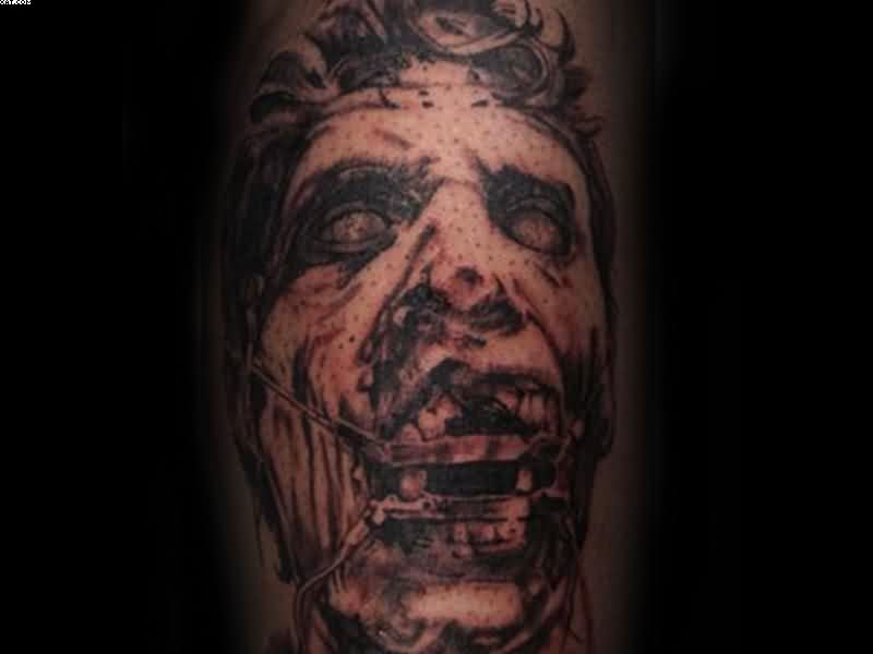 Very Horror Zombie Face Tattoo Image