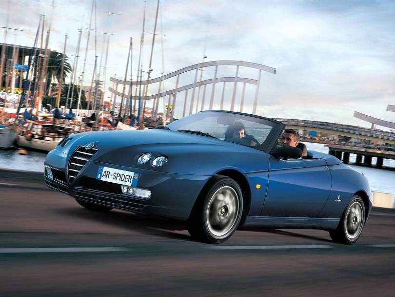 Very fast Alfa Romeo Spyder Car on the road