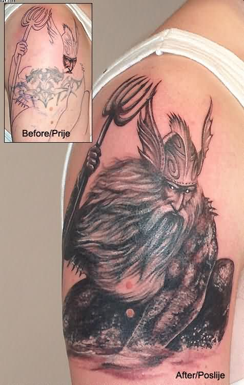 Viking's Tattoo On Biceps Of Angry Wizard
