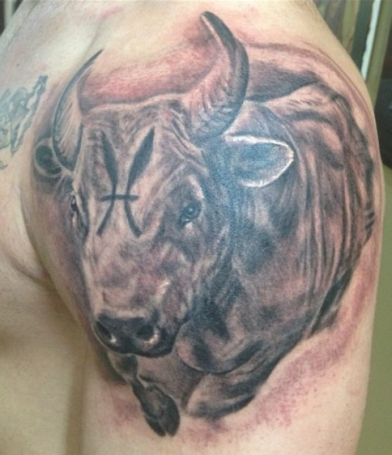 Weird Black And Red Color Ink 3d Bull Tattoo On Upper Arm For Boys