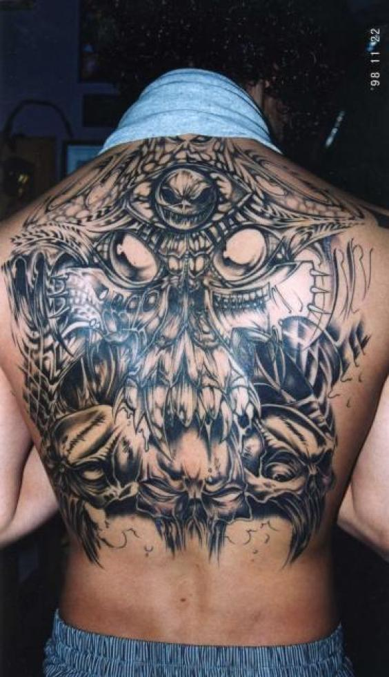 Weird Black Color Ink Alien Tattoo Back piece For Boys