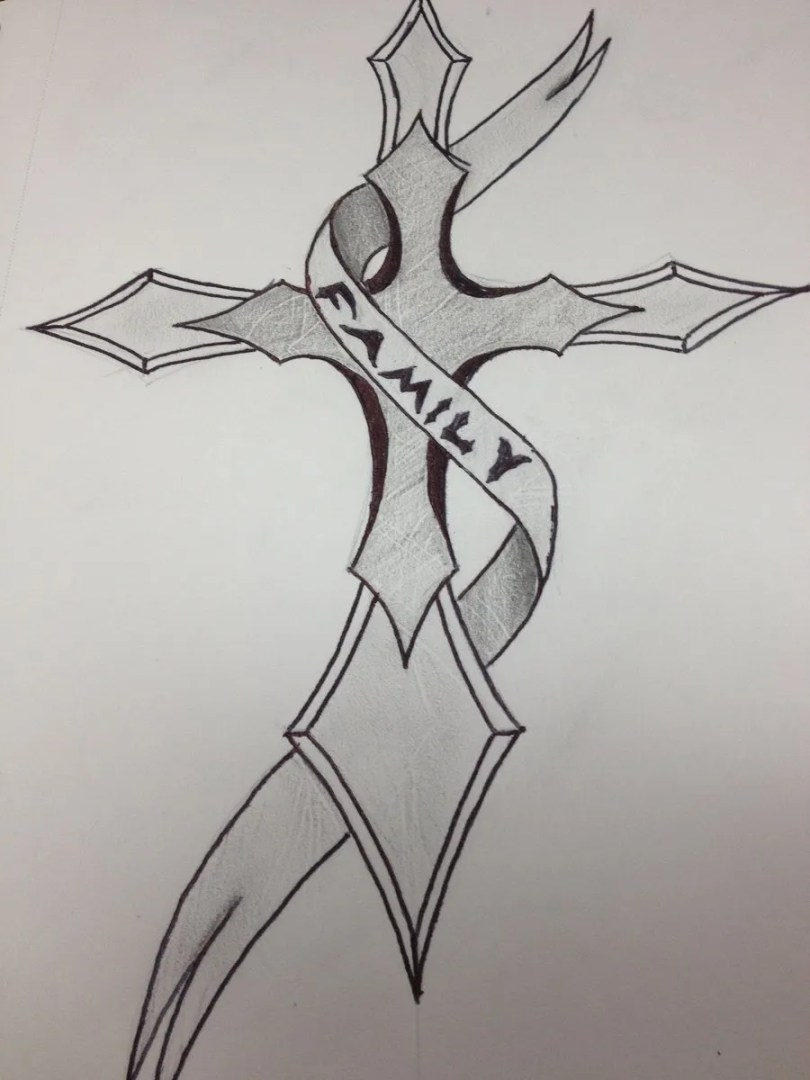 Weird Black Color Ink Family Cross Tattoo Design For Girls